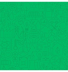 Thin Line Green Power Eco Seamless Pattern vector image