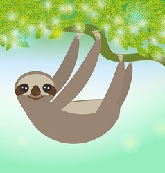 Three-toed sloth on green branch vector