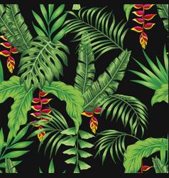 Tropical pattern leaves flowers seamless black vector