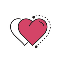 Two heart icon dots style pink vector