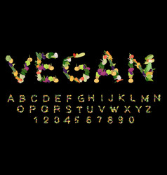 vegan font alphabet of vegetables edible letters vector image