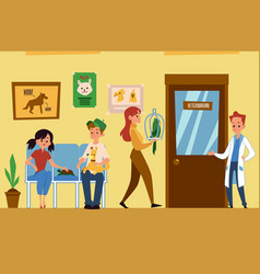 Vet clinic interior with pets and people flat vector