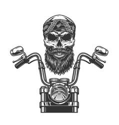 Vintage monochrome biker skull in bandana vector