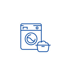 washing machinelaundry service line icon concept vector image