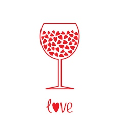 Wine glass with hearts inside Card vector