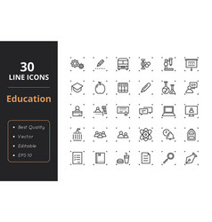 30 education line icons vector image