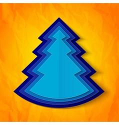 Blue paper christmas tree on orange background vector image