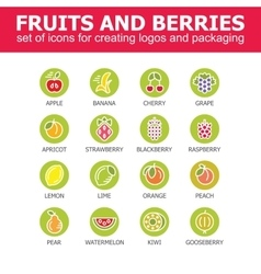 Fruit icon collection - vector image