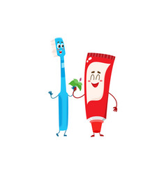 funny toothpaste and toothbrush character dental vector image vector image