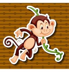 Little monkey hanging on the vine vector image vector image