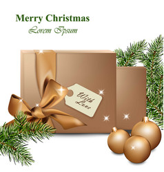 merry christmas with gold gift boxes winter vector image vector image