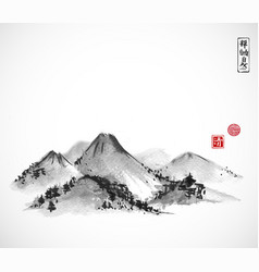 mountains hand drawn with ink on white background vector image