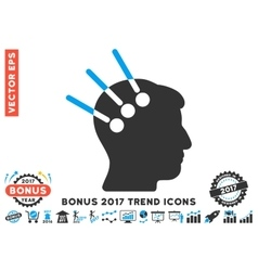 Neural Interface Flat Icon With 2017 Bonus Trend vector image