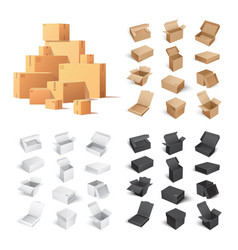 set of carton boxes isolated on white background vector image