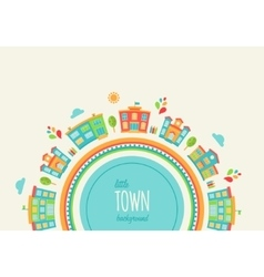 Little Town Background Made of Houses and Schools vector image vector image