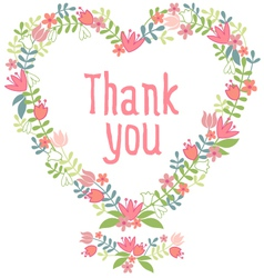 thank you floral heart wreath vector image vector image