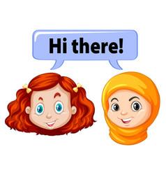 Two girls saying hello vector