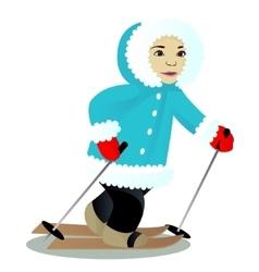 Child ski isolated on white vector image