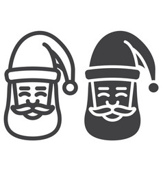 santa claus face line and glyph icon vector image