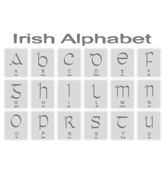 Set of monochrome icons with irish alphabet vector image