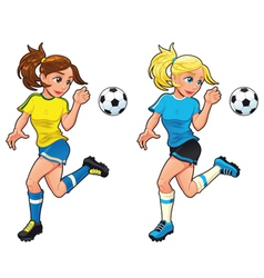 Soccer female players vector