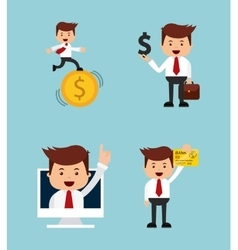 successful businessman character isolated icon vector image