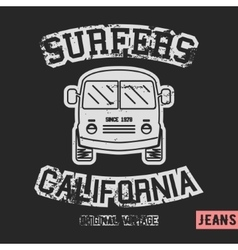 Surfer bus vintage stamp vector