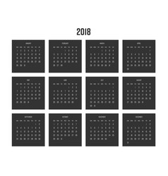 year 2018 calendar week starts from sunday vector image