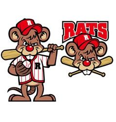 baseball rats mascot vector image vector image