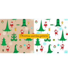 christmas two seamless patterns vector image vector image