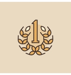 Flat number one icon vector