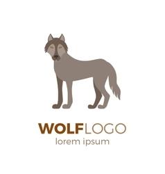 Flat wolf logo vector image vector image