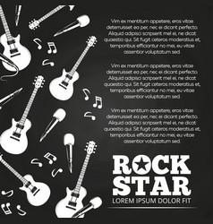 rock star chalkboard poster design vector image