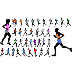 runners in color sportswear silhouettes collection vector image vector image