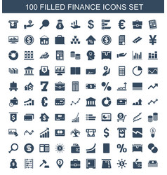 100 finance icons vector