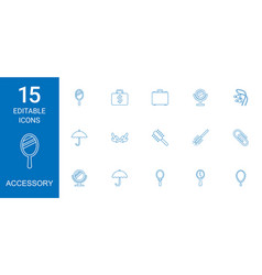 15 accessory icons vector