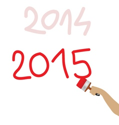 2015 written with red brush vector
