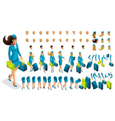 3d constructor stewardess create your character vector