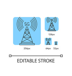 5g cell tower blue linear icons set vector