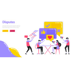 a dispute people are discussing and disputing in vector image