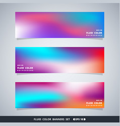 abstract colorful fluid mesh banners set vector image
