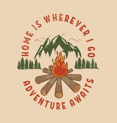 adventure awaits hand draw wild mountain vector image