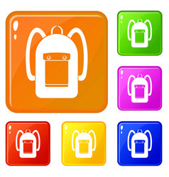 Backpack icons set color vector