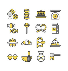 Bakery icon set colored icon collection vector