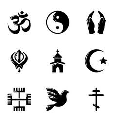 Belief icons set simple style vector