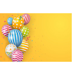 birthday balloon with colorful confetti vector image
