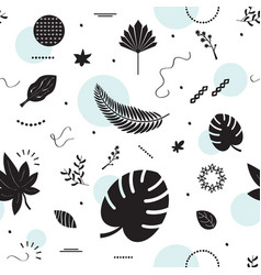 black silhouette summer tropical leaves pattern vector image