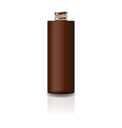 blank brown cosmetic cylinder bottle with lid vector image