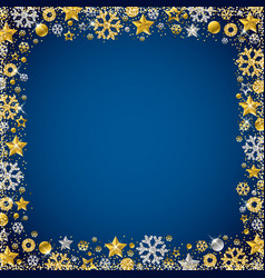 Blue christmas card with border of golden and vector