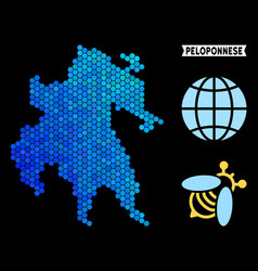 Blue hexagon peloponnese peninsula map vector